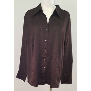 NWT George Women's Plus Dark Brown Blouse 22W/24W
